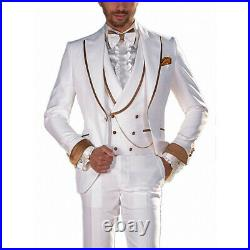 White Men's Tuxedo Wedding Suits Brown Rim Stage Luxury Formal Groom Party Suits