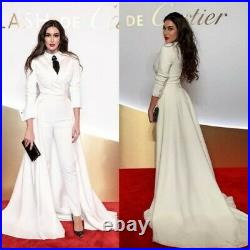 White Women Ladies Suit With Train Business Office Tuxedos Work Party Prom Suits