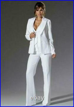 Women Fashion White Business Office Tuxedos 3 Piece Formal Work Wear Suit Hot
