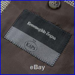 Zegna Roma Beige Multi Color Wool Checked Houndstooth Dual Vents 2Btn Jacket 44R